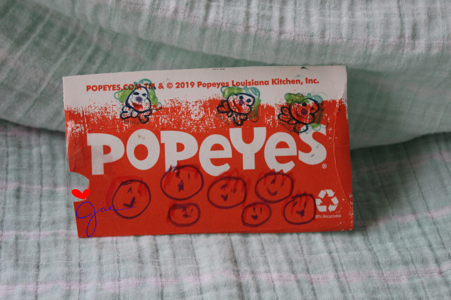popeyes pie pouch post card 2020
