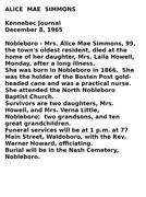 alice simmons obituary