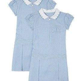 wholesale soft blue checked dress