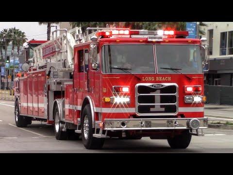 Long Beach Fire Dept. Truck 1 Responding