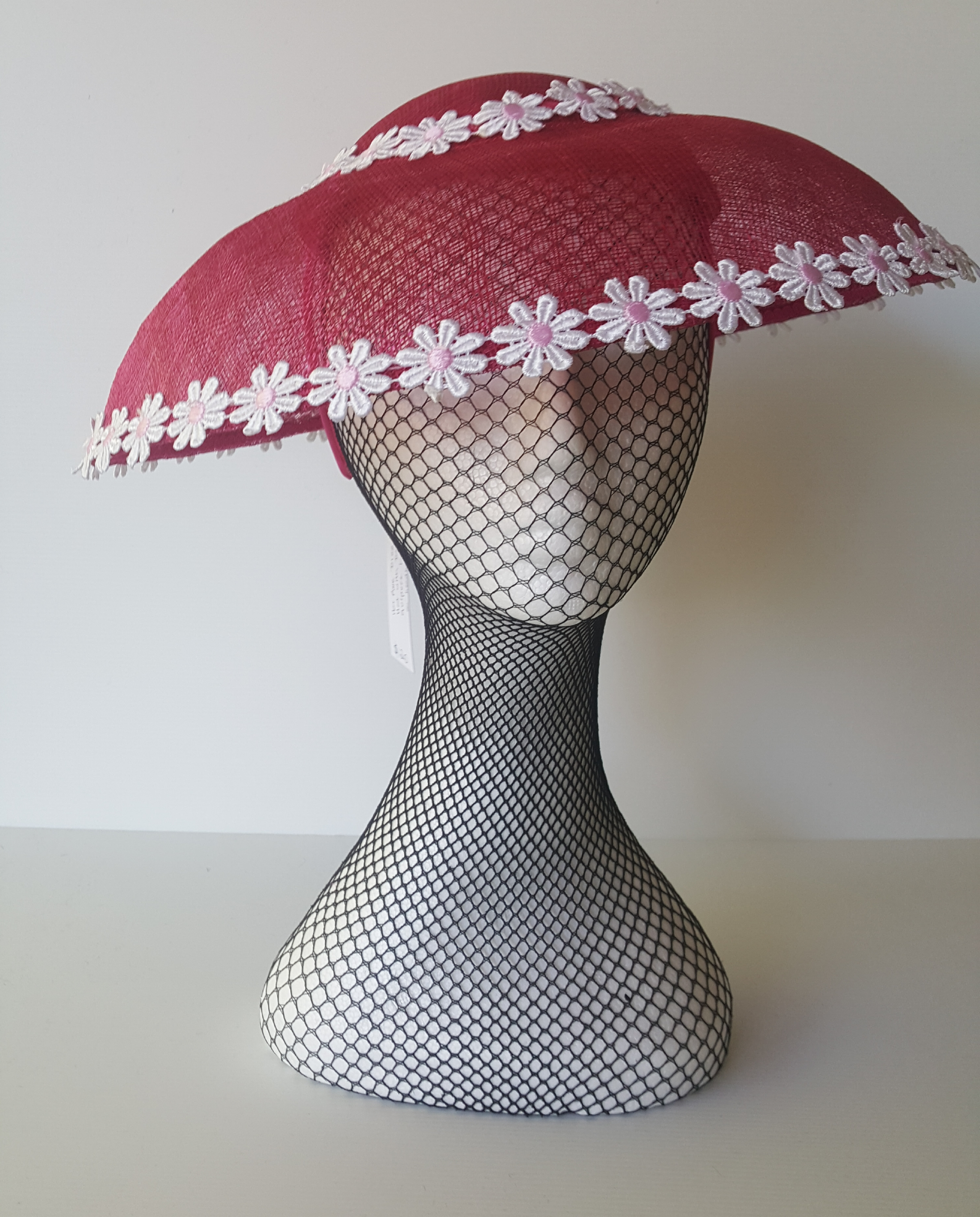 Hot pink sinamay dior brim with daisy lace trim