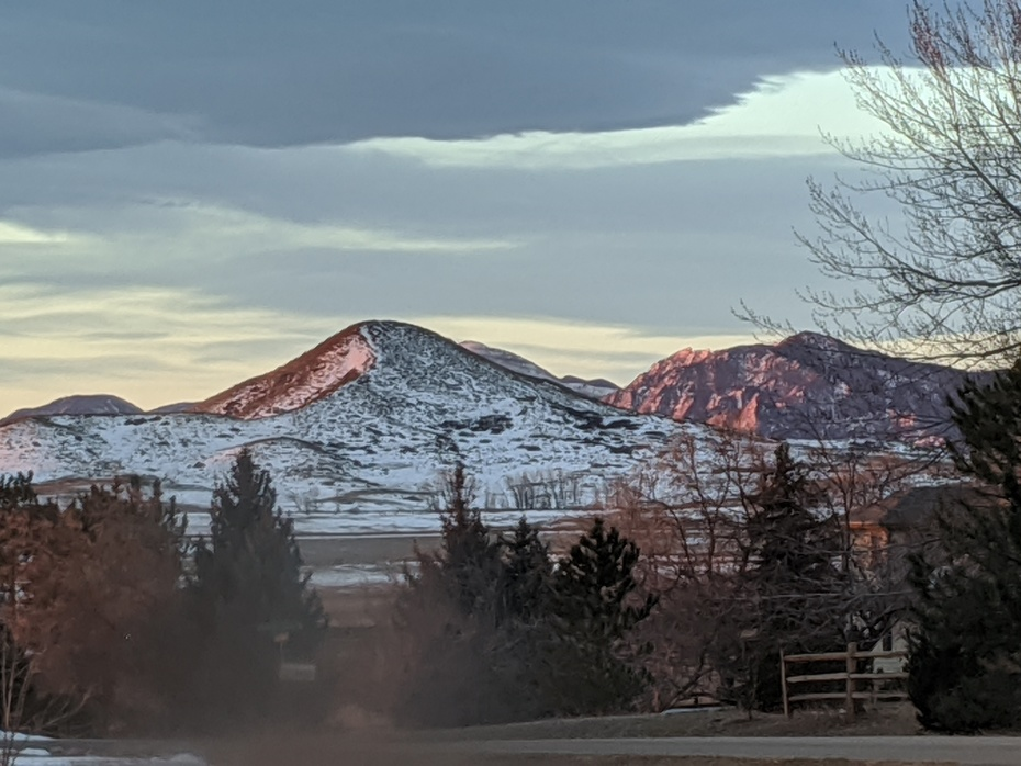 Morning light on Haystack My and Flatirons