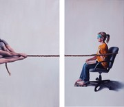 Tugs of War (for Lucy) | Oil on linen | 37 x 66 in (each) | 2019