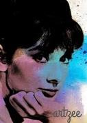 Contemporary Audrey Hepburn Watercolor Canvas Art Piece