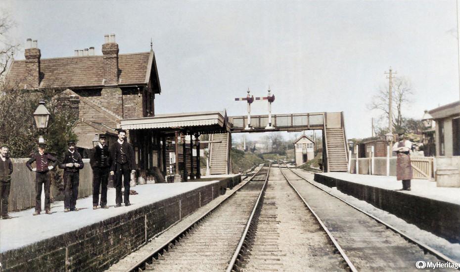 Towcester station - Colorized.