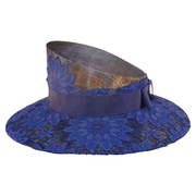Slant Crown Lace Covered Hat