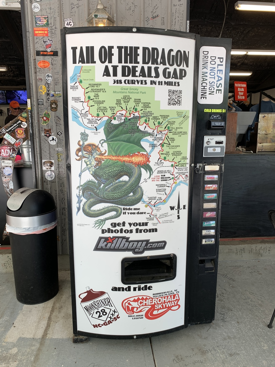 Vending maching at Tail of the Dragon store