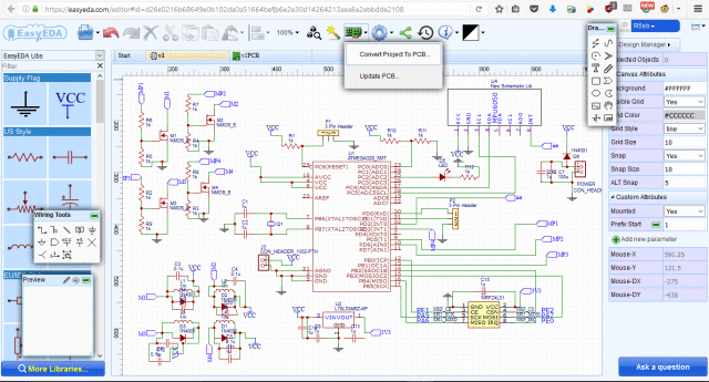 the circuit schematic is as image showed and could be edited here:  https://easyeda com/editor#id=d26e0216b68649e0b102da0a51664bef