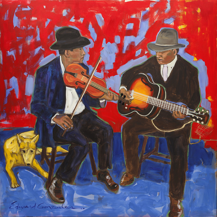 YELLOW COYOTE NORTEÑO BLUES  Edward Gonzales    48x48 inches  acrylic on canvas  2019
