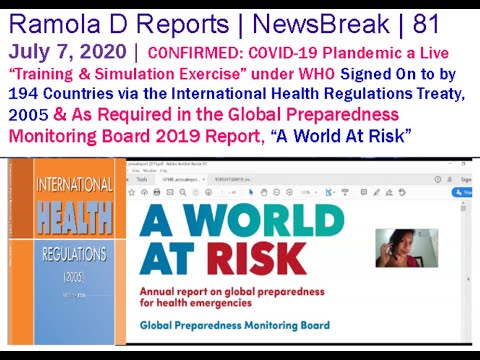 """CONFIRMED: COVID-19 Plandemic a Known, Live """"Training & Simulation Exercise"""" under WHO"""