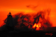 Ludington lighthouse - Wild sunset
