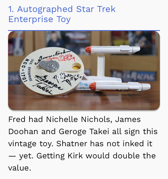 I was On, MeTV's, Collector's Call, S2E6, Meet Fred,with, Lisa Whelchel,Our Autographed, Dinky, Star Trek, Enterprise,