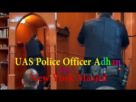 On Duty USA Police Officer in Uniform giving Adhan In New York Masjid