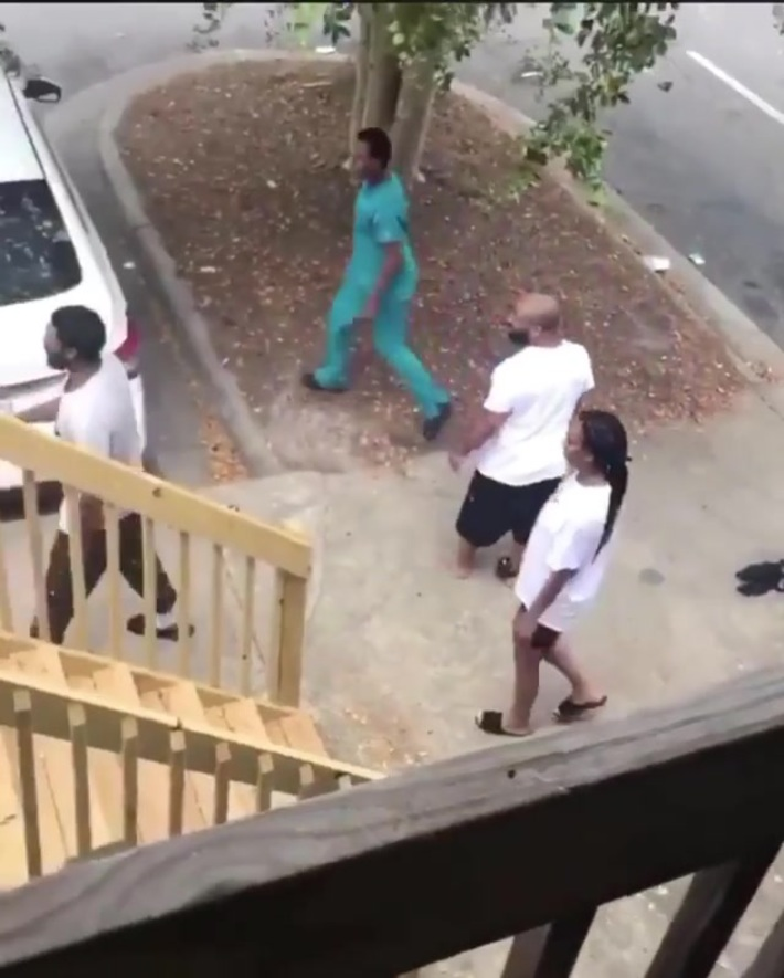2 women fighting and one grabs the others kid