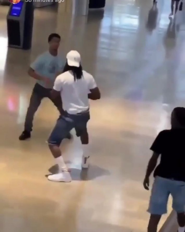 Dude gets jumped by 3 guys at the mall
