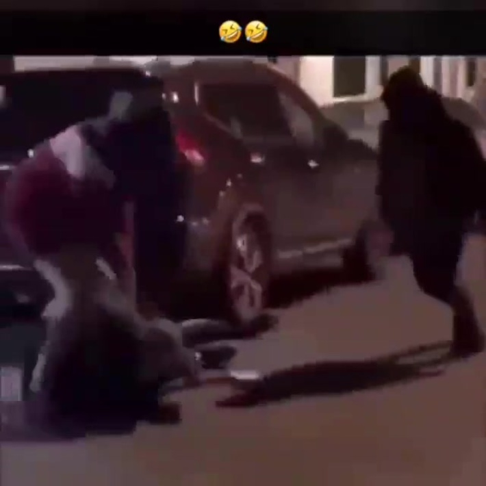 They do wrestling moves on a knocked out man