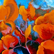 fleurs rouges huile