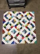 Scrappy, wonky leftovers quilt for doll (2020)