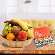 Fresh Fruits Basket with Sweets - Indiagift