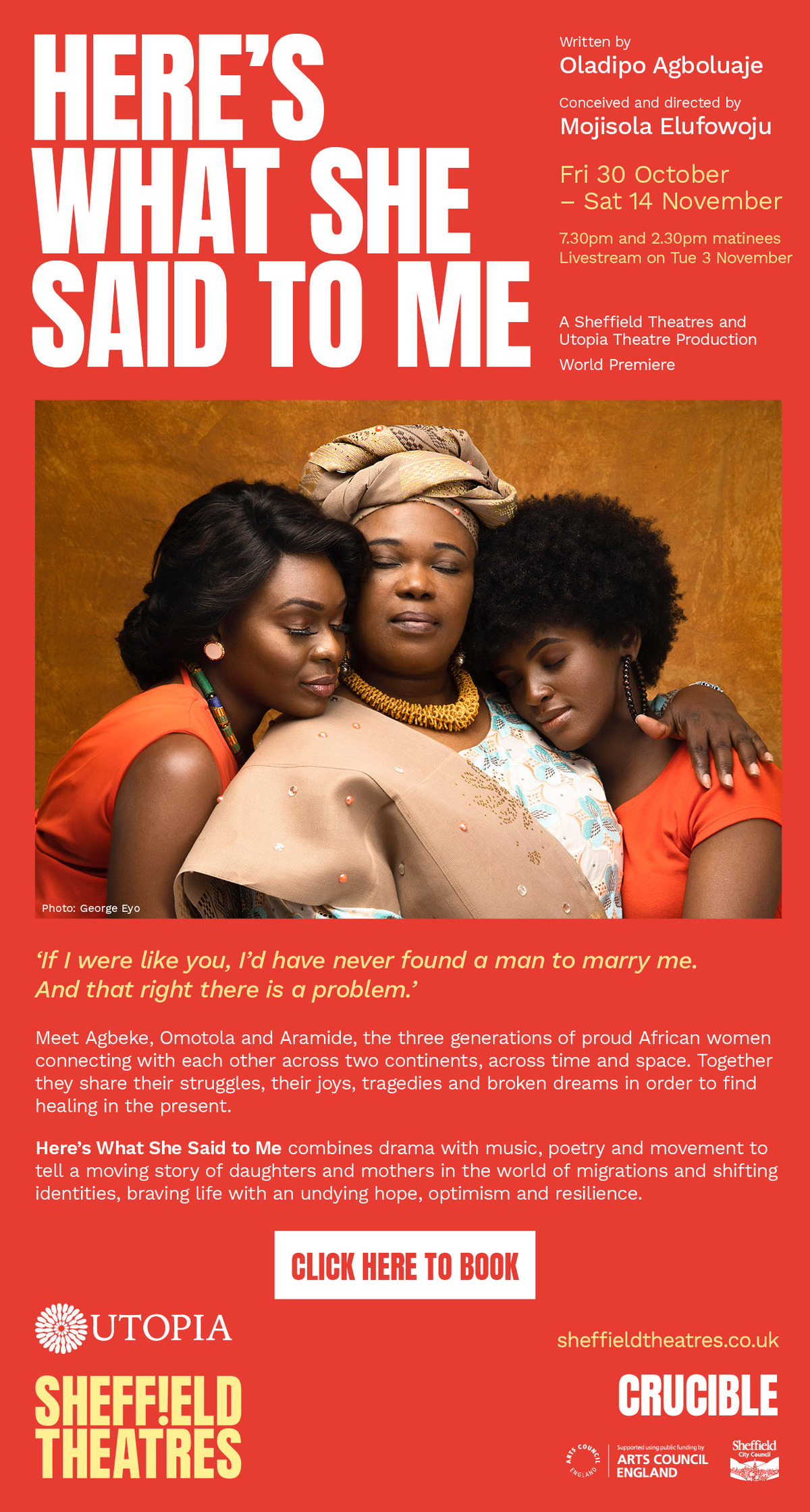 SHEFFIELD THEATRES ANNOUNCES CASTING FOR 'HERE'S WHAT SHE SAID TO ME' By Oladipo Agboluaje