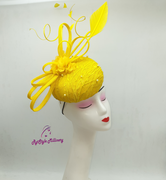 LACE BUTTON FASCINATOR - YELLOW