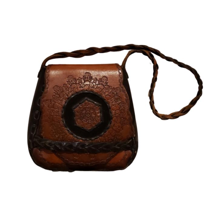 Vintage Tooled Leather Hippie Handbag