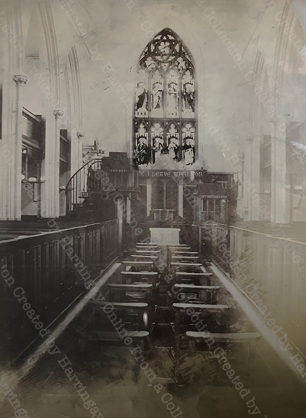 Early Photo of Interior of St Mary's Church, Hornsey c1880