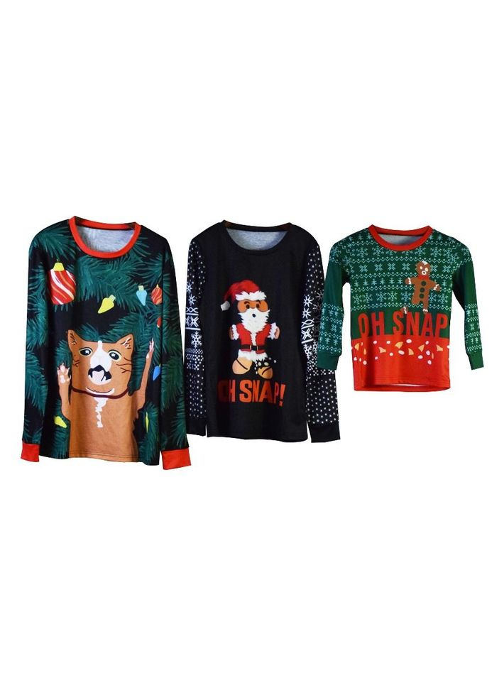 kiskissing Wholesale Family Matching Christmas Theme T-shirt Long-sleeved