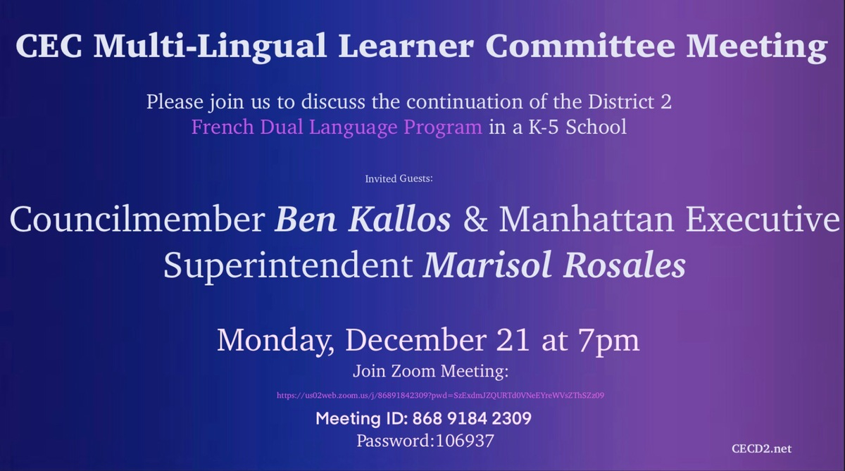 Public Meeting to discuss the continuation of the District 2 French Dual Language Program in a K-5 School