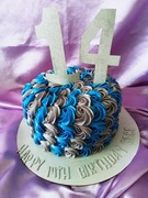 Blue and Silver 14th Birthday Cake