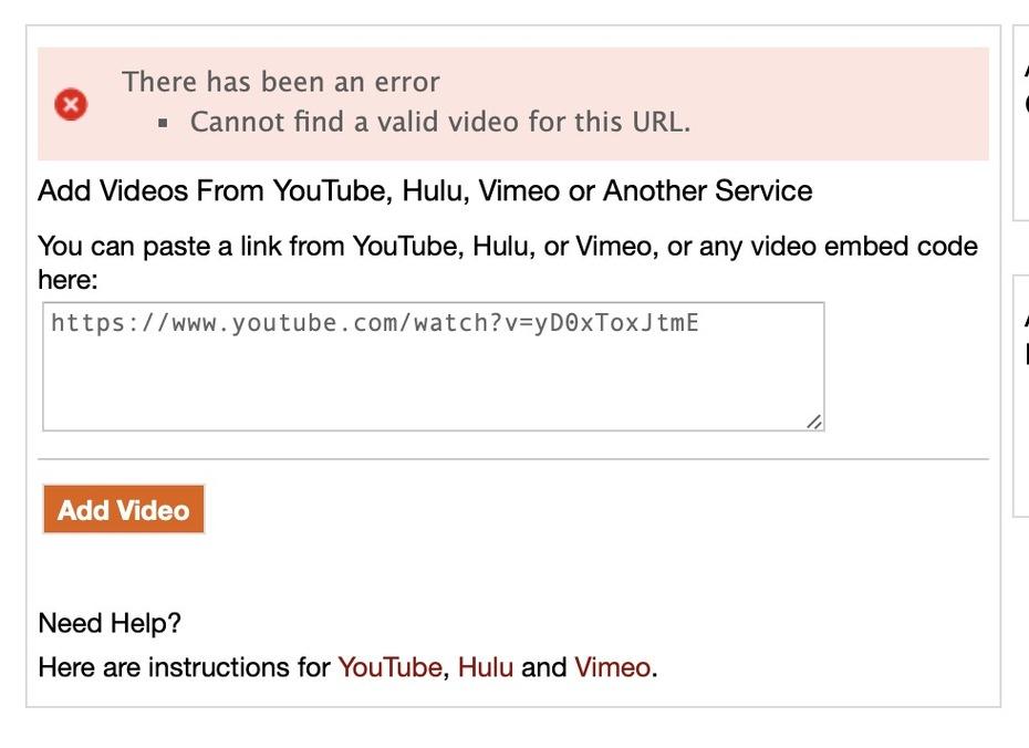 Video Uploading Error