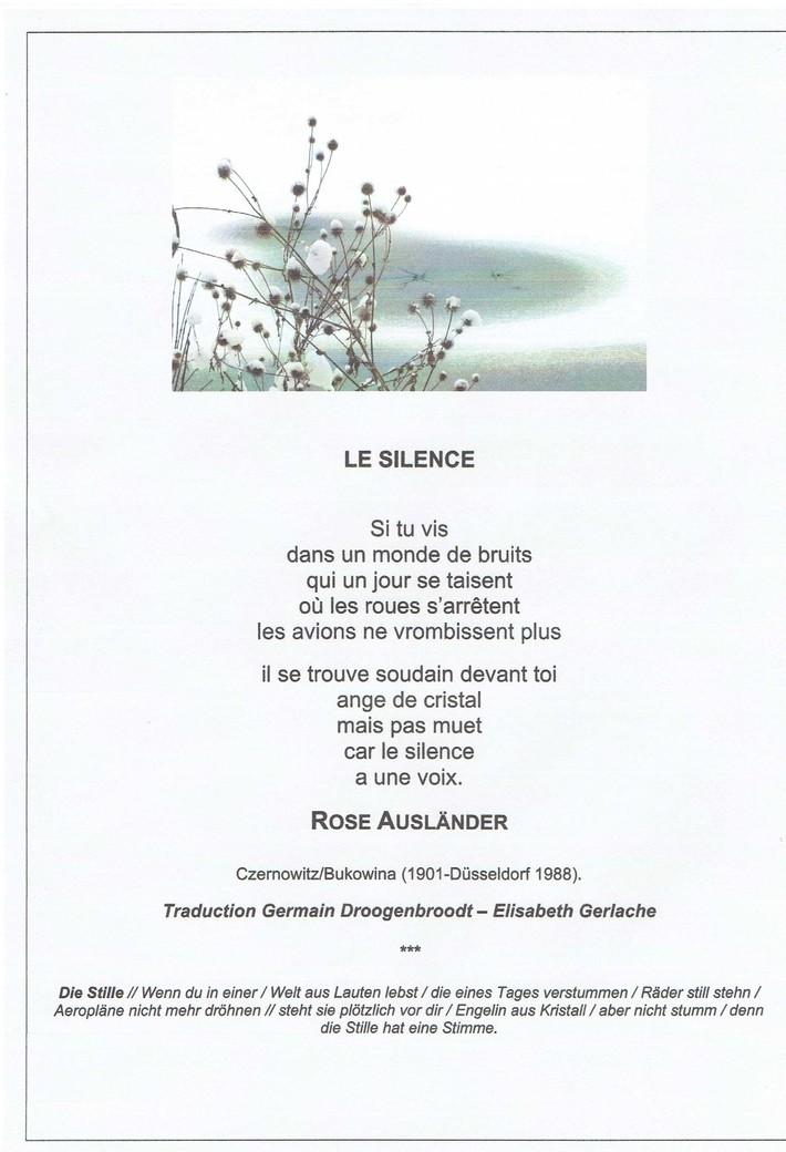 Poème Le Silence