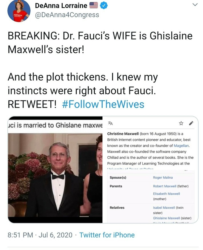 Fauci's wife = Maxwell's Sister