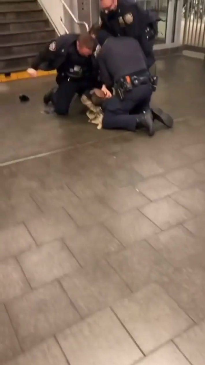 The NYPD beats a man in the subway