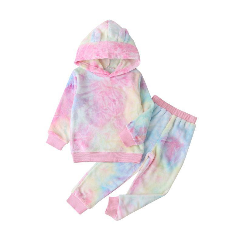 kiskissing wholesale 2-pieces kid girl tie dye set hoodie pants