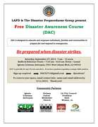LAFD & the Disaster Preparedness Group present Free Disaster Awareness Course (DAC) - Sept. 27, 2014