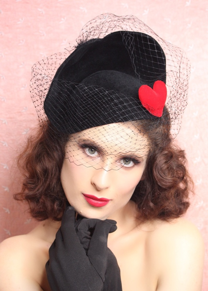 The House Of Hats AMOUR Black Fur Felt Veil Heart Hat