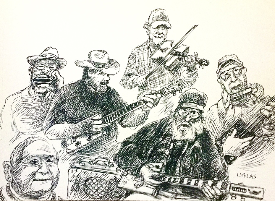 Dave art and generosity.  A very good likeness of himself front right.