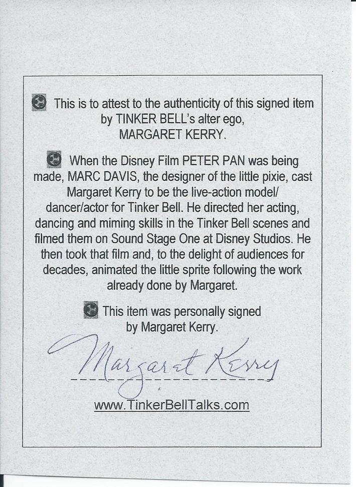 Margaret Kerry signed Authenticity slip that came with her book