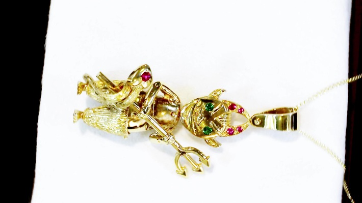 0.22ct Ruby, 0.13ct Emerald and 9ct Yellow Gold Devil Pendant - Vintage Circa 1990