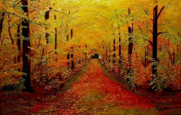 """L'oeuvre """"Paysage d'automne"""" de Jean-Claude Vignal sublimée par une sonate de Paganini"""